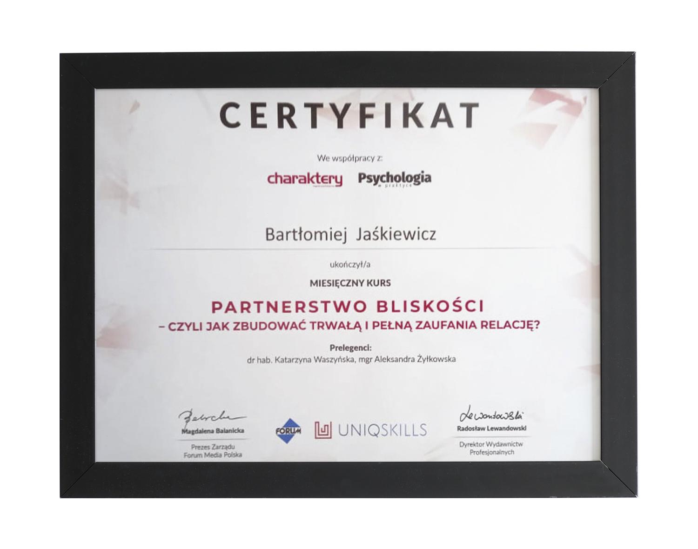 Certyfikat ukończenia kursu dot. partnerstwa i bliskości - terapeuta Bartłomiej Jaśkiewicz