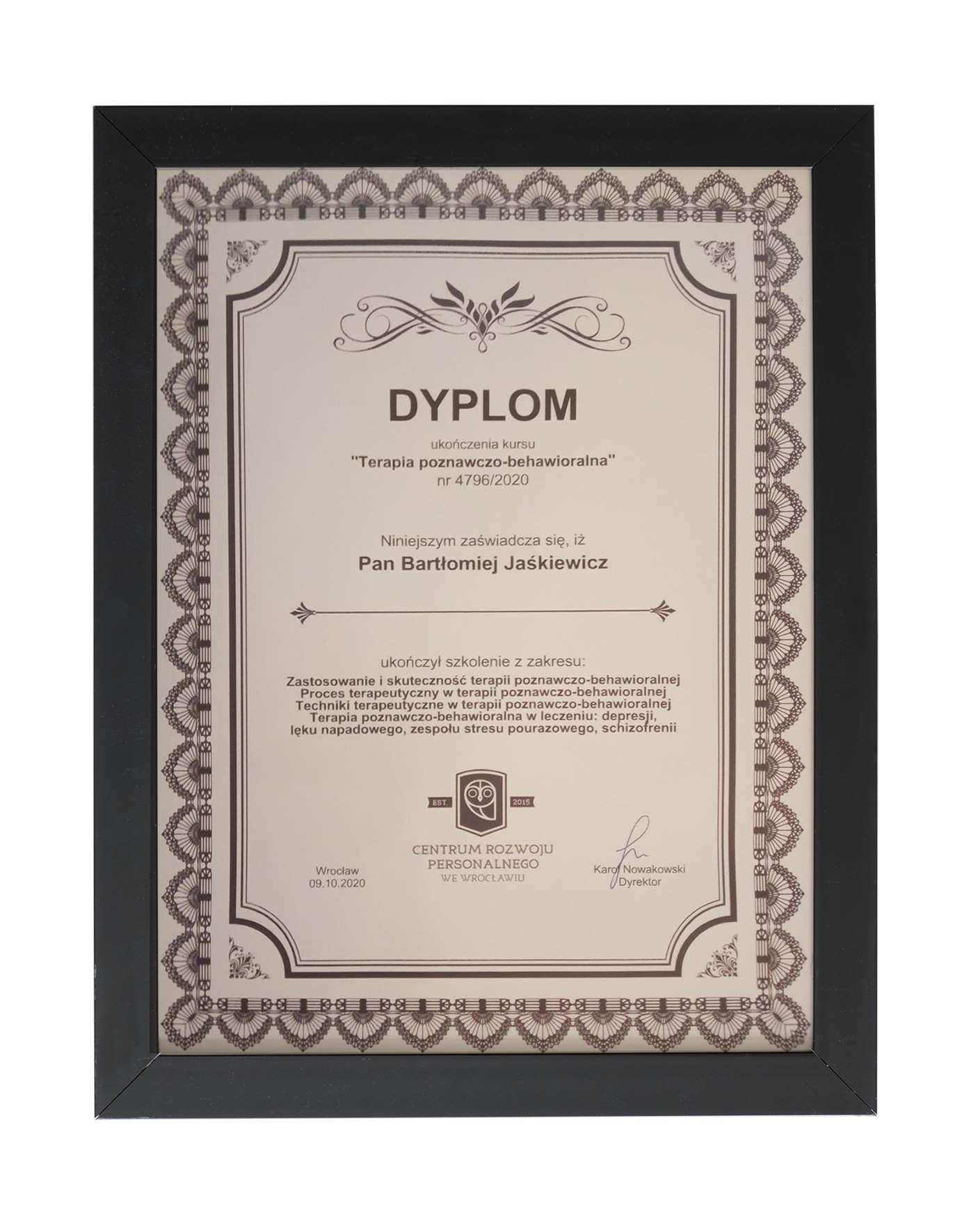 Certyfikat ukończenia kursu - szkolenia z terapii poznawczo-behawioralnej dla terapeuty Bartłomieja Jaśkiewicza