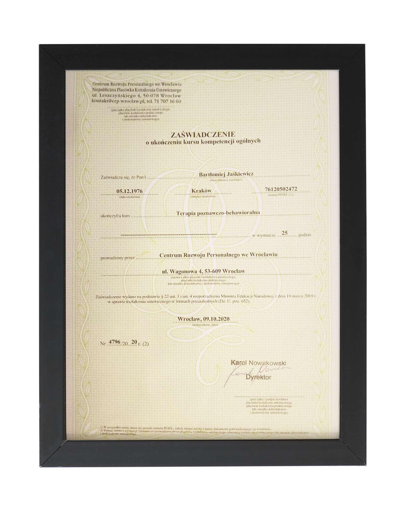 Certyfikat ukończenia kursu - szkolenia z terapii poznawczo-behawioralnej dla Bartłomieja Jaśkiewicza