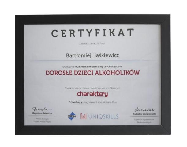 Certyfikat ukończenia kursu terapeutycznego - Bartłomiej Jaśkiewicz