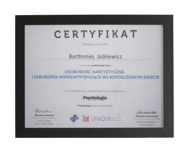 Certyfikat ukończenia kursu - szkolenia terapeutycznego dla terapeuty Bartłomieja Jaśkiewicza