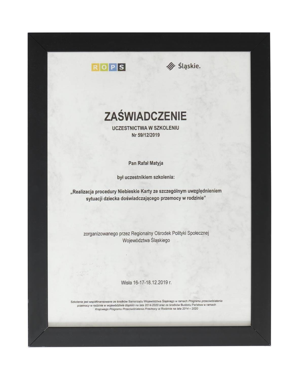 Certyfikat ukończenia szkolenia terapeutycznego - terapeuta Rafał Matyja