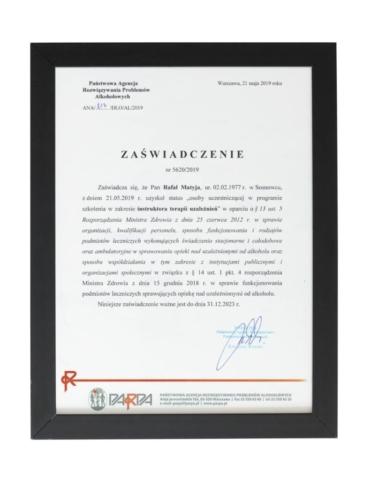 Certyfikat ukończenia szkolenia instruktor terapii uzależnień - terapeuta Rafał Matyja